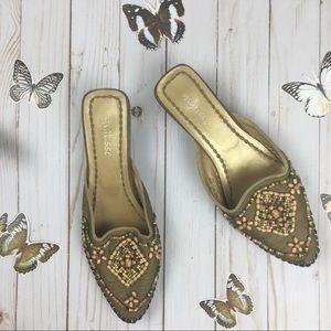 Matisse Brown Beaded Wedge Heeled Shoes